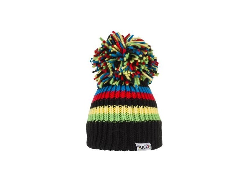 Big Bobble Hats UCI Black Rainbow Stripes click to zoom image