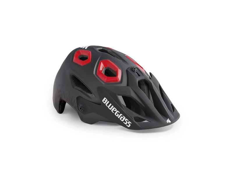 Bluegrass Golden Eyes MTB Helmet - Black Texture & Red click to zoom image