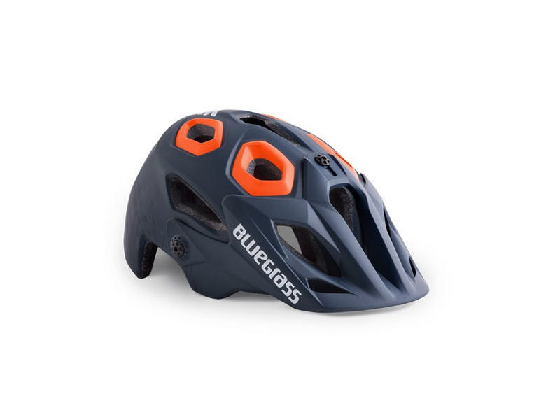 Bluegrass Golden Eyes MTB Helmet - Petrol Blue Texture & Orange click to zoom image