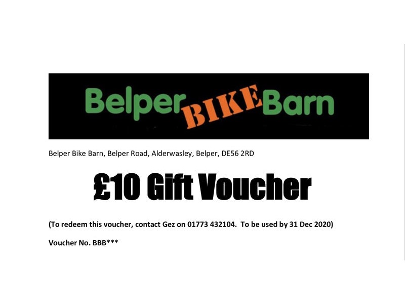 Belper Bike Barn £10 Gift Voucher click to zoom image